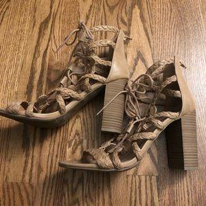 Merona Tan High-Heeled Lace-Up Chunky Sandals